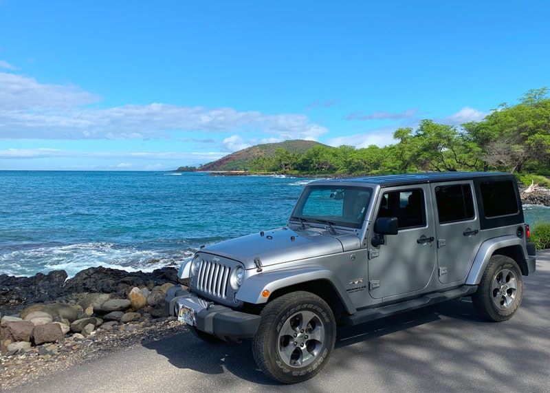 Rental car parked in Hawaii